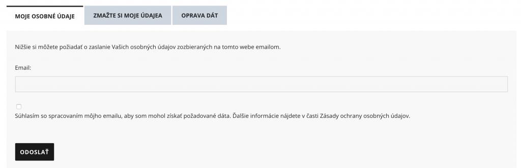 Správa osobných údajov na našom webovom portáli